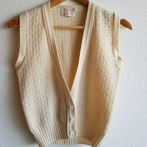 Vintage Pendleton Wool Cream Sweater Vest Small